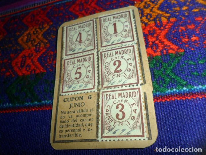 REAL MADRID AÑO 1943 CUPONES CUPÓN DEL CARNET DE SOCIO. ORIGINALES. MUY RAROS. (Coleccionismo Deportivo - Documentos de Deportes - Carnet de Socios)