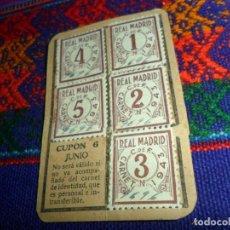 Coleccionismo deportivo: REAL MADRID AÑO 1943 CUPONES CUPÓN DEL CARNET DE SOCIO. ORIGINALES. MUY RAROS. . Lote 147811534