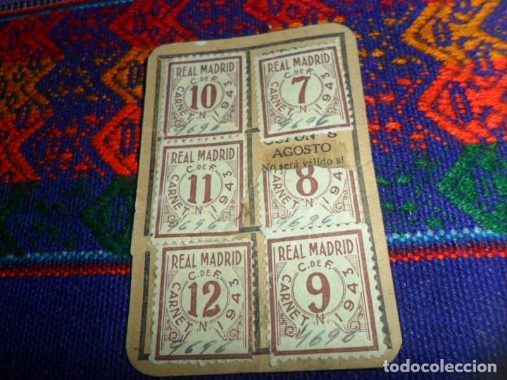 Coleccionismo deportivo: REAL MADRID AÑO 1943 CUPONES CUPÓN DEL CARNET DE SOCIO. ORIGINALES. MUY RAROS. - Foto 2 - 147811534