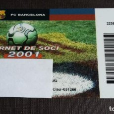 Coleccionismo deportivo: CARNET SOCIO SOCI TEMPORADA 2001 - FC BARCELONA - . Lote 148095414