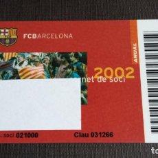 Coleccionismo deportivo: CARNET SOCIO SOCI TEMPORADA 2002 - FC BARCELONA - . Lote 148095494