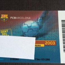 Coleccionismo deportivo: CARNET SOCIO SOCI TEMPORADA 2003 - FC BARCELONA - . Lote 148095558