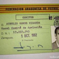 Collectionnisme sportif: CARNET FEDERACIÓN ARAGONESA DE FÚTBOL COMITES 1982-83. Lote 150535534