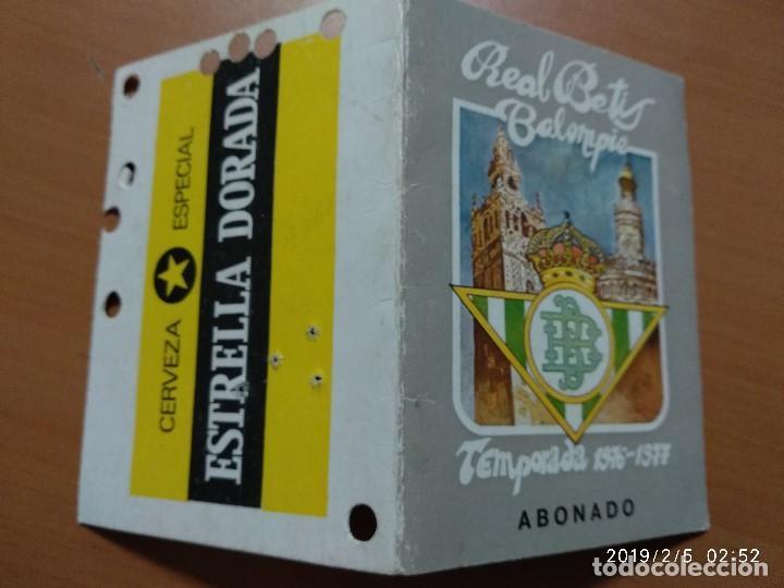 Coleccionismo deportivo: ANTIGUO CARNET DEL REAL BETIS BALOMPIE, TEMPORADA 1976-77, ABONADO - Foto 3 - 150851182
