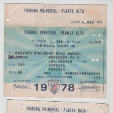 Coleccionismo deportivo: LOTE DE 2 TARJETAS DE SOCIO ATHLETIC CLUB DE BILBAO AÑOS 1978 Y 1979. Lote 152421370