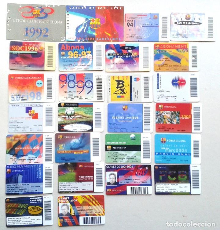 LOTE 26 CARNET SOCI SOCIO ABONAMENT FC BARCELONA DE 1992 A 2009 ¡¡ ESTAN TODOS LOS AÑOS !! ABONO (Coleccionismo Deportivo - Documentos de Deportes - Carnet de Socios)