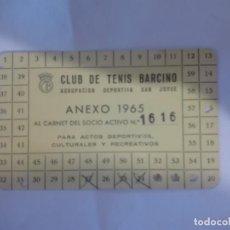 Coleccionismo deportivo: CARNET SOCIO CLUB DE TENIS BARCINO 1965. Lote 153429338