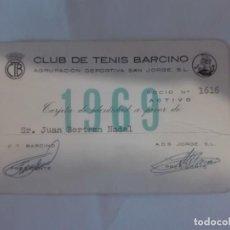 Coleccionismo deportivo: CARNET SOCIO CLUB DE TENIS BARCINO 1969. Lote 153429382