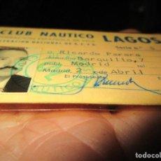 Coleccionismo deportivo: JOYERO R. PERERA ANTIGUO CARNET CLUB NAUTICO LAGOS DE VELA SOCIO Nº 5 MADRID EMBARCACION 470. Lote 154229246