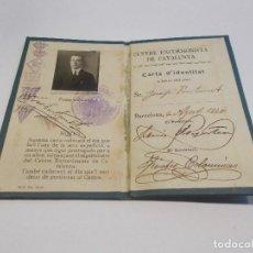 Coleccionismo deportivo: CENTRE EXCURSIONISTA DE CATALUNYA CARNET AÑO 1920 A NOMBRE DE JOSEP FONTANET (C). Lote 156062154