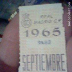Coleccionismo deportivo: REAL MADRID 1965 SEPTIEMBRE CUPON ABONO. Lote 157007502