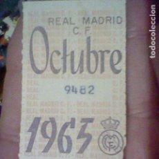 Coleccionismo deportivo: REAL MADRID 1965 OCTUBRE CUPON ABONO. Lote 157007526