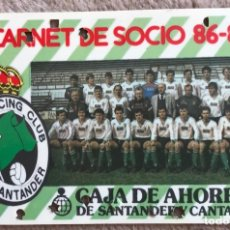 Coleccionismo deportivo: CARNET SOCIO DEL REAL RACING CLUB DE SANTANDER - TEMPORADA 1986 - 1987 - FÚTBOL . Lote 157224998