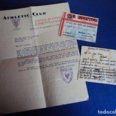 Coleccionismo deportivo: (F-190400)CARNET DE SOCIO,CARTA Y POSTAL DE CLUB DEPORTIVO BILBAO AÑO 1936. Lote 158670670