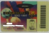 1997 FC Barcelona Soci 1997 carnet anual socio 1997 Futbol Club Barcelona