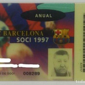 1997 FC Barcelona Soci 1997 carnet anual socio 1997 Futbol Club Barcelona 8,5x5,4cm