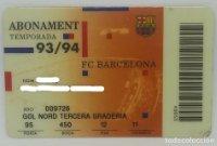 93/94 FC Barcelona. Abonament temporada Gold nord tercera graderia Futbol Club Barcelona
