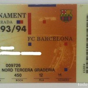 93/94 FC Barcelona. Abonament temporada Gold nord tercera graderia Futbol Club Barcelona 8,5x5,4cm