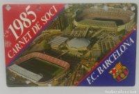 1985 FC Barcelona carnet de soci anual 1985. Carnet de socio Futbol Club Barcelona