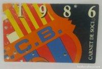 1986 FC Barcelona carnet de soci anual 1986 Carnet de socio Futbol Club Barcelona