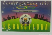 1987 FC Barcelona carnet de soci anual 1987 Carnet de socio Futbol Club Barcelona