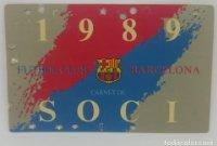 1989 FC Barcelona carnet de soci anual 1989 Carnet de socio Futbol Club Barcelona