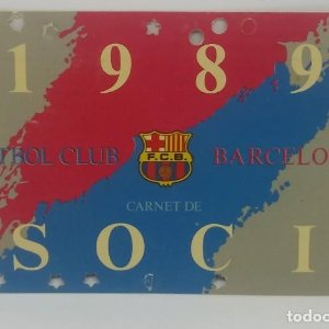 1989 FC Barcelona carnet de soci anual 1989 Carnet de socio Futbol Club Barcelona 11x7cm