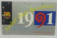 1991 FC Barcelona carnet de soci anual 1991 Carnet de socio Futbol Club Barcelona