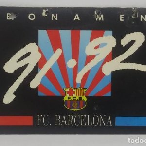 91/92 FC Barcelona. Abonament temporada Gold nord tercera graderia Futbol Club Barcelona 11x7cm