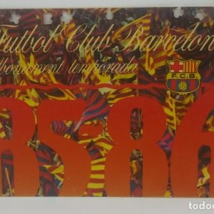85/86 FC Barcelona. Abonament temporada Gold nord tercera graderia Futbol Club Barcelona 11x7cm