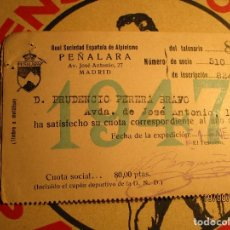 Coleccionismo deportivo: CARNET SOCIO PEÑALARA 1947 ACCESO A CHALET REAL SOCIEDAD ALPINISMO MADRID. Lote 159767342