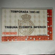 Coleccionismo deportivo: CARNET SOCIO REAL CLUB DEPORTIVO LA CORUÑA 1991/92. Lote 160421386