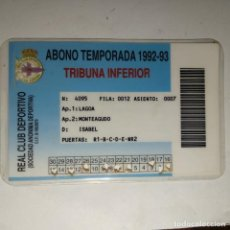 Coleccionismo deportivo: CARNET SOCIO REAL CLUB DEPORTIVO LA CORUÑA 1992/93 TRIBUNA INFERIOR. Lote 160421490