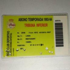 Coleccionismo deportivo: CARNET SOCIO REAL CLUB DEPORTIVO LA CORUÑA ABONO MENSUAL 1993/94 TRIBUNA INFERIOR. Lote 160421666