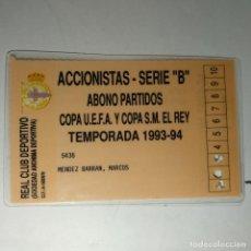 Coleccionismo deportivo: CARNET ABONO PARTIDOS COPA UEFA Y COPA DEL REY REAL CLUB DEPORTIVO DE LA CORUÑA TEMPORADA 1993-94. Lote 160421802