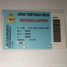 Coleccionismo deportivo: CARNET SOCIO REAL CLUB DEPORTIVO LA CORUÑA ABONO TEMPORADA 1993-94. Lote 160421882