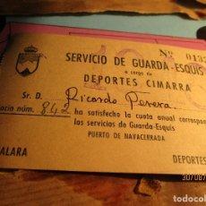 Coleccionismo deportivo: ABONO SOCIO CARNET GUARDA ESQUIS 1948 PEÑALARA DEPORTES CIMARRA NAVACERRADA ALPINISMO MADRID. Lote 159819242