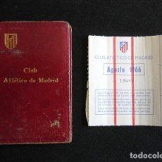 Coleccionismo deportivo: ANTIGUO CARNET SOCIO ATLETICO DE MADRID AÑO 1954 Y CUPONES DE 1966. FÚTBOL.. Lote 163728130