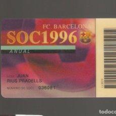 Coleccionismo deportivo: 1 CARNET DE SOCIO FCB BARCELONA . Lote 166095198