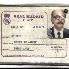 Coleccionismo deportivo: SIV- ANTIGUO CARNET DE SOCIO DEL REAL MADRID DE FUTBOL - AÑO 1985 - SOCIO 2.564. Lote 169670928