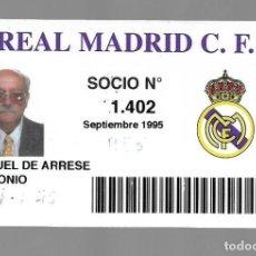 Coleccionismo deportivo: SIV- ANTIGUA TARJETA DE SOCIO DEL REAL MADRID DE - AÑO 1995 - SOCIO 2.564. Lote 169672432