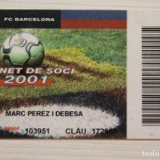 Coleccionismo deportivo: CARNET SOCIO FUTBOL CLUB BARCELONA, 2001. Lote 170923455