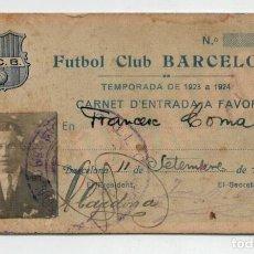Coleccionismo deportivo: FUTBOL CLUB BARCELONA 1923 - CARNET FRANCESC COMA JUGADOR DEL FC BARCELONA ENTRE 1918 1927. Lote 172690785