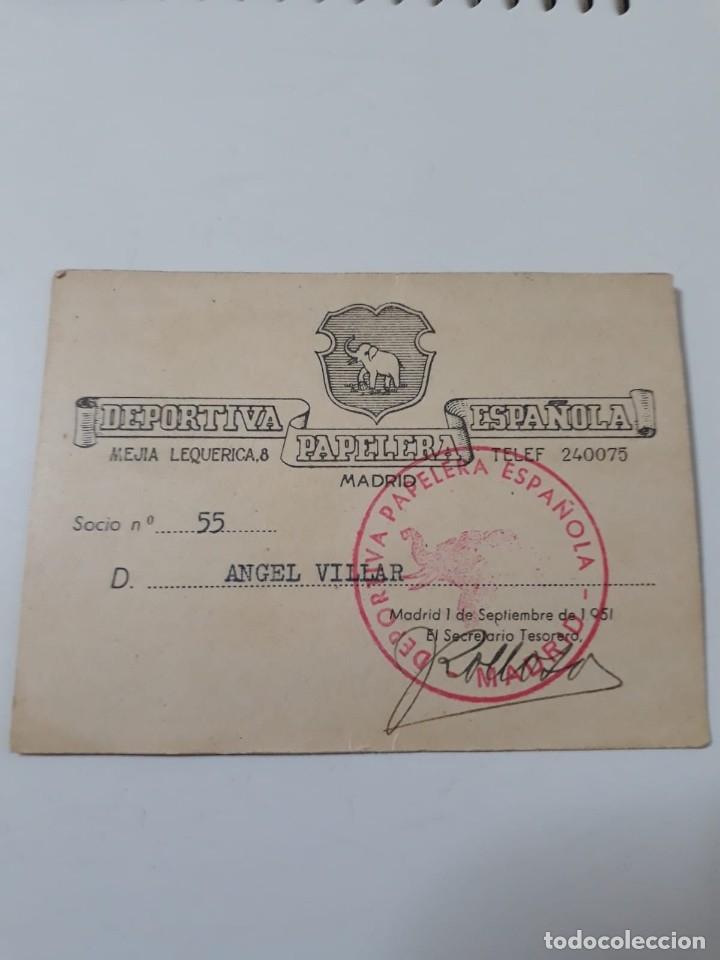 CARNET DEPORTIVA PAPELERA ESPAÑOLA (Coleccionismo Deportivo - Documentos de Deportes - Carnet de Socios)