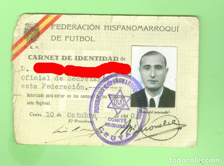 FEDERACION HISPANO MARROQUI DE FUTBOL. 1940 RARO CARNET DE EMPLEADO CEUTA. HISPANOMARROQUI. (Coleccionismo Deportivo - Documentos de Deportes - Carnet de Socios)