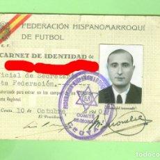 Coleccionismo deportivo: FEDERACION HISPANO MARROQUI DE FUTBOL. 1940 RARO CARNET DE EMPLEADO CEUTA. HISPANOMARROQUI.. Lote 174494747