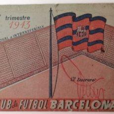 Colecionismo desportivo: CARNET FÚTBOL CLUB BARCELONA 1943. Lote 175958278