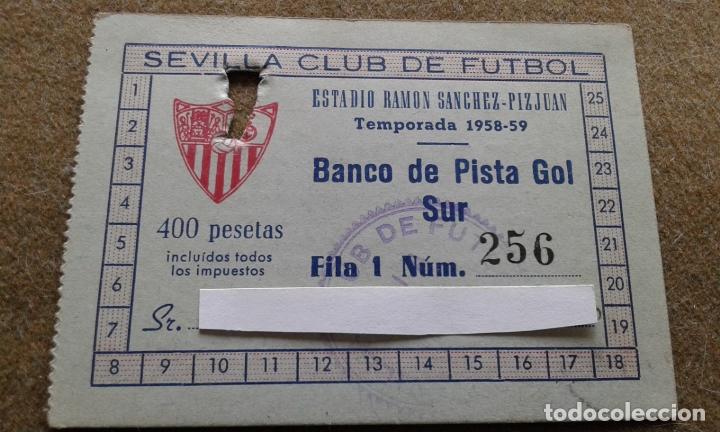 SEVILLA F.C. - RARISIMO CARNET DEL AÑO 1958/1959 AÑO DE LA INAUGURACION DEL ESTADIO SANCHEZ PIZJUAN (Coleccionismo Deportivo - Documentos de Deportes - Carnet de Socios)