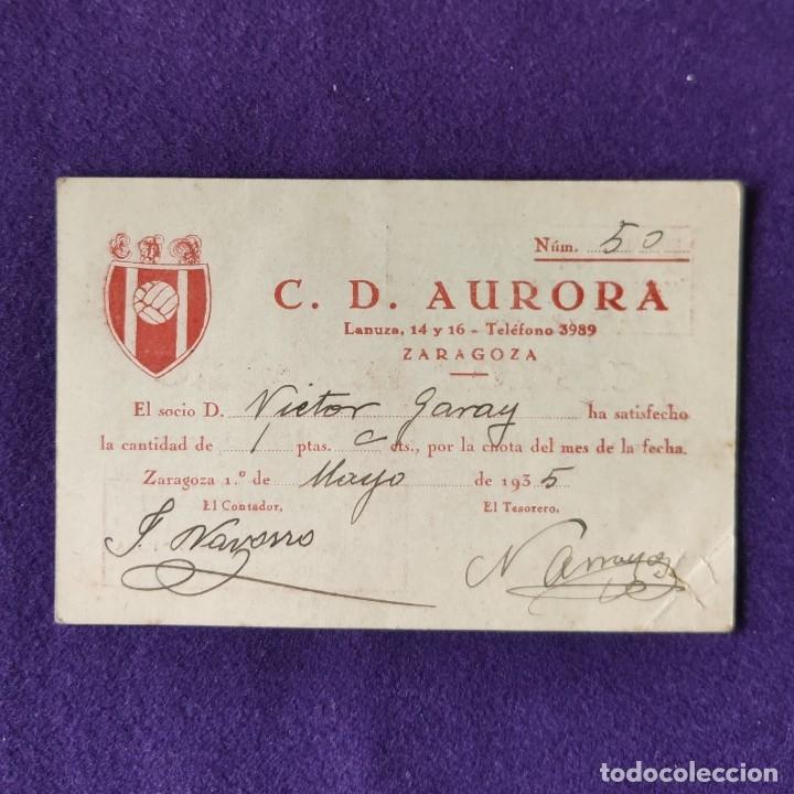 CARNET DE SOCIO DEL C.D. AURORA. ZARAGOZA. 1935. (Coleccionismo Deportivo - Documentos de Deportes - Carnet de Socios)