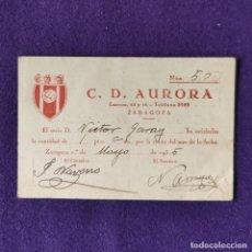 Coleccionismo deportivo: CARNET DE SOCIO DEL C.D. AURORA. ZARAGOZA. 1935.. Lote 178326041